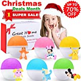 Kids Bath Bombs Gift Set with Surprise Toys Inside 6 Fun Colorful Natural Organic Bubble Bath Fizzies Bombs Kit for Kids Best Birthday Christmas Gift Idea for Boys Girls by Great Home Reviews
