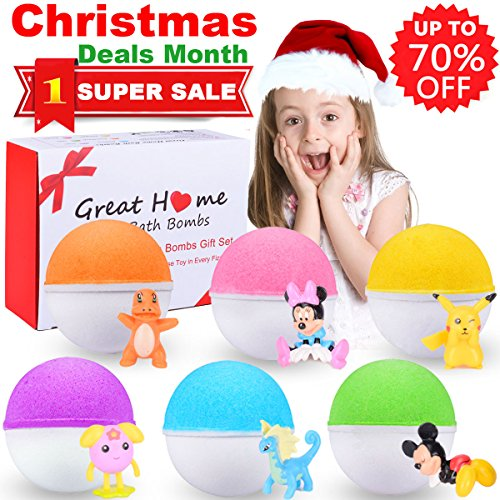 Price comparison product image Kids Bath Bombs Gift Set with Surprise Toys Inside 6 Fun Colorful Natural Organic Bubble Bath Fizzies Bombs Kit for Kids Best Birthday Christmas Gift Idea for Boys Girls by Great Home