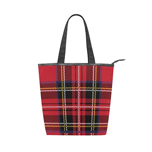 a893719c92 Amazon.com  Women Durable Canvas Handbag Red Black Plaid Checks Checkered  Large Capacity Tote Shopping Shoulder Bag  Shoes