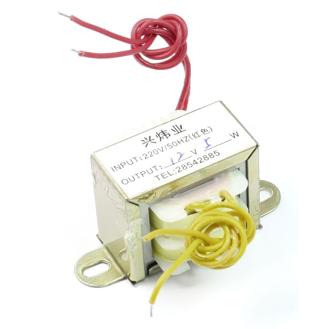 sourcingmap 220V 50Hz Single Phase EI Core Power Transformer 12V 5W Output w Cable a13070100ux0421