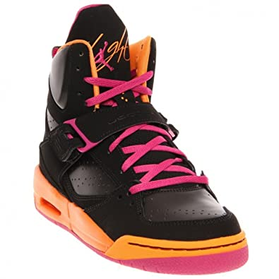 ed597ece6b7df Nike Kids Jordan Flight 45 High 524864 028 Black Fusion Pink Cool Grey  Bright Citrus Basketball