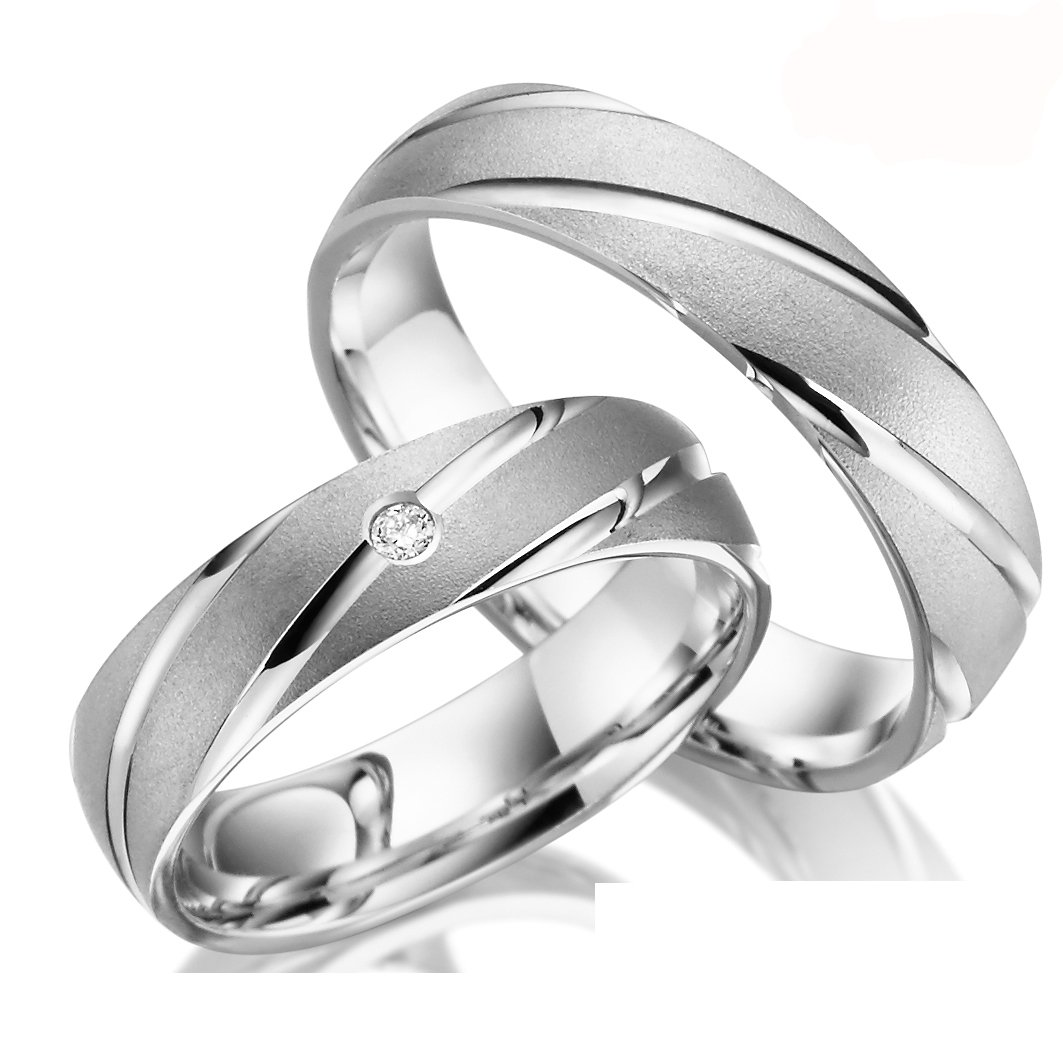2 x Trauringe 925 Silber PAARPREIS inkl. Swarovski Crystal und Gravur AG.12 Juwelier Rubin AG12