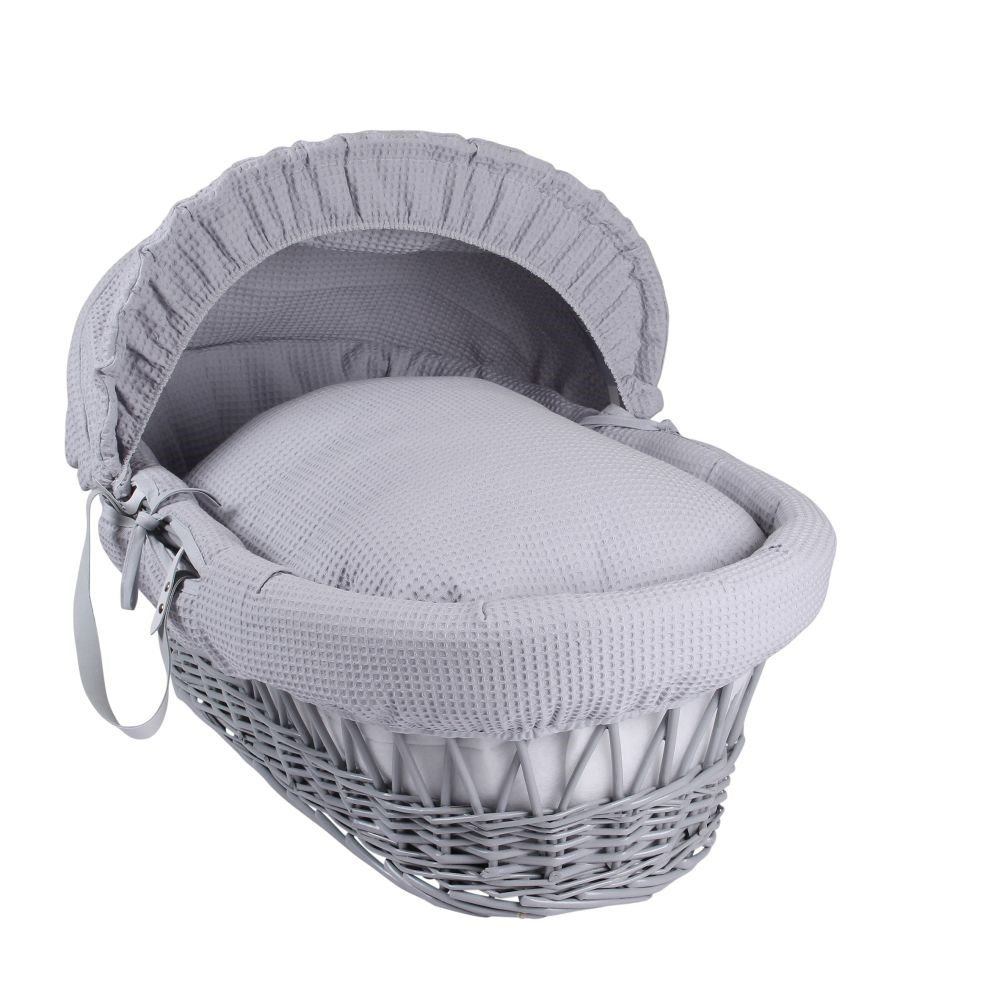 Clair de Lune Waffle Grey Wicker Moses Basket, Grey CL4637GGY