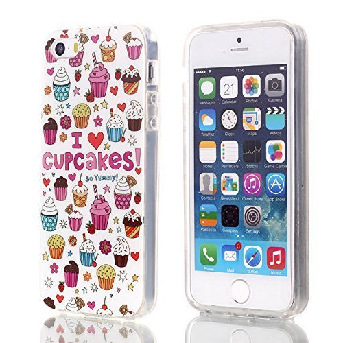 iPhone 5 Case,GX-LV (TM) [Transparent] [Shock-Absorbing] [Scratch Resistant] [Hybrid Crystal Clear View Armor Series] iPhone 5/5S TPU Bumper Frame with Cupcakes Printed Pattern Back Panel Soft Silicone Gel TPU Protective Protection Case Cover Skin For Apple iPhone 5/5S,Not Fit For iPhone 5C (Cupcakes)
