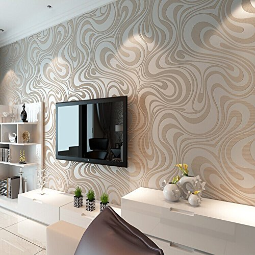 10M Modern Luxury Abstract Curve 3d Wallpaper Roll Mural Paper Parede Flocking for Striped Cream&white Color 0.7m*8.4m=5.88SQM by DAIWEI (Image #1)