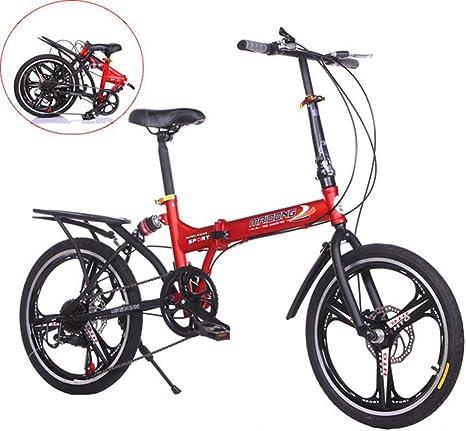 LQ&XL Bicicleta Plegable De 20 Pulgadas De Aluminio para Unisex Adultos, Niños, Viaje Urban Bici Ajustables Manillar Y Confort Sillin,Capacidad 120kg / Red: Amazon.es: Deportes y aire libre