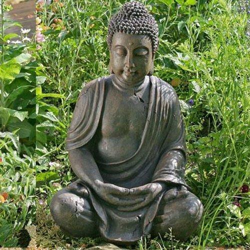 SITZENDE BUDDHA STATUE LOTUS budda skulptur asia garten figur 40cm hoch kunstharz