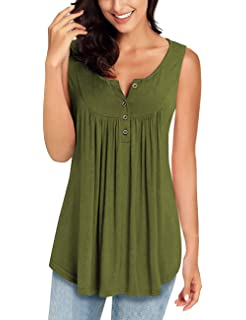 a96d3a6209a65f MIROL Womens Spring Sleeveless V Neck Solid Color Casual Swing Shirts Flowy Tank  Tops Blouses with