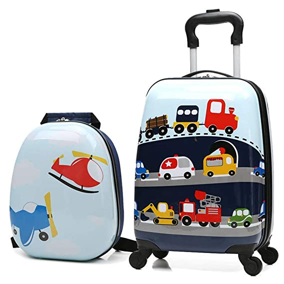 Amazon.com: Juego de maletas de viaje para niños con ruedas ...