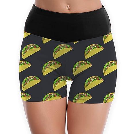 Amazon.com : Pin-1 Womens Yoga Shorts Mexican Tacos Pattern ...