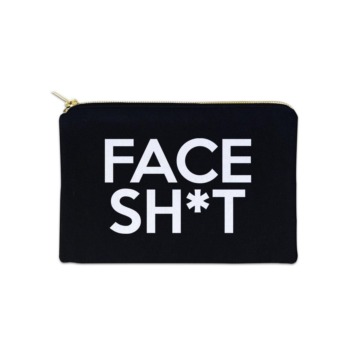 Face Sht 12 oz Cosmetic Makeup Cotton Canvas Bag - (Black Canvas)