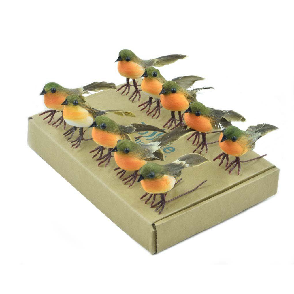 10PCS Robin Bird Christmas Tree Decoration Craft VERY CUTE Artificial Feather TO773