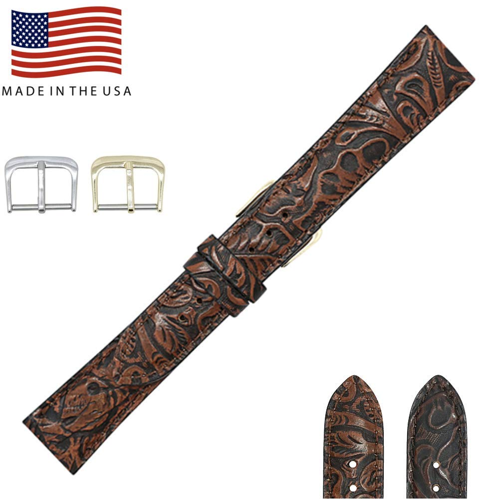 17mm Cognac Western Print Genuine Leather Watch Strap Band - American Factory Direct - Gold & Silver Buckles Included – Made in USA by Real Leather Creations FBA325