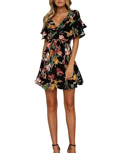 Vestidos Mujer Bohemio Escote V Vestido De Flores De Manga Corta Vestido De Playa: Amazon.es: Ropa y accesorios