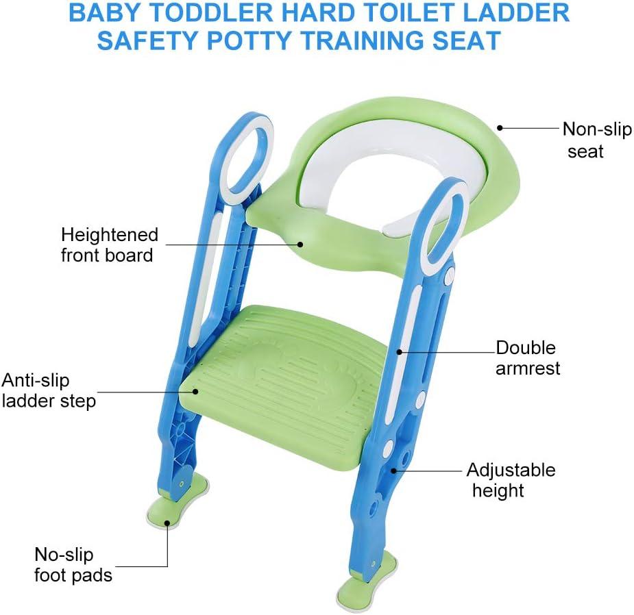 Asiento de entrenamiento para inodoro Asiento duro Orinal de entrenamiento para ni/ños con asiento ajustable y escalera Escalera de ba/ño para ni/ños Asiento de inodoro para beb/é WC infantil