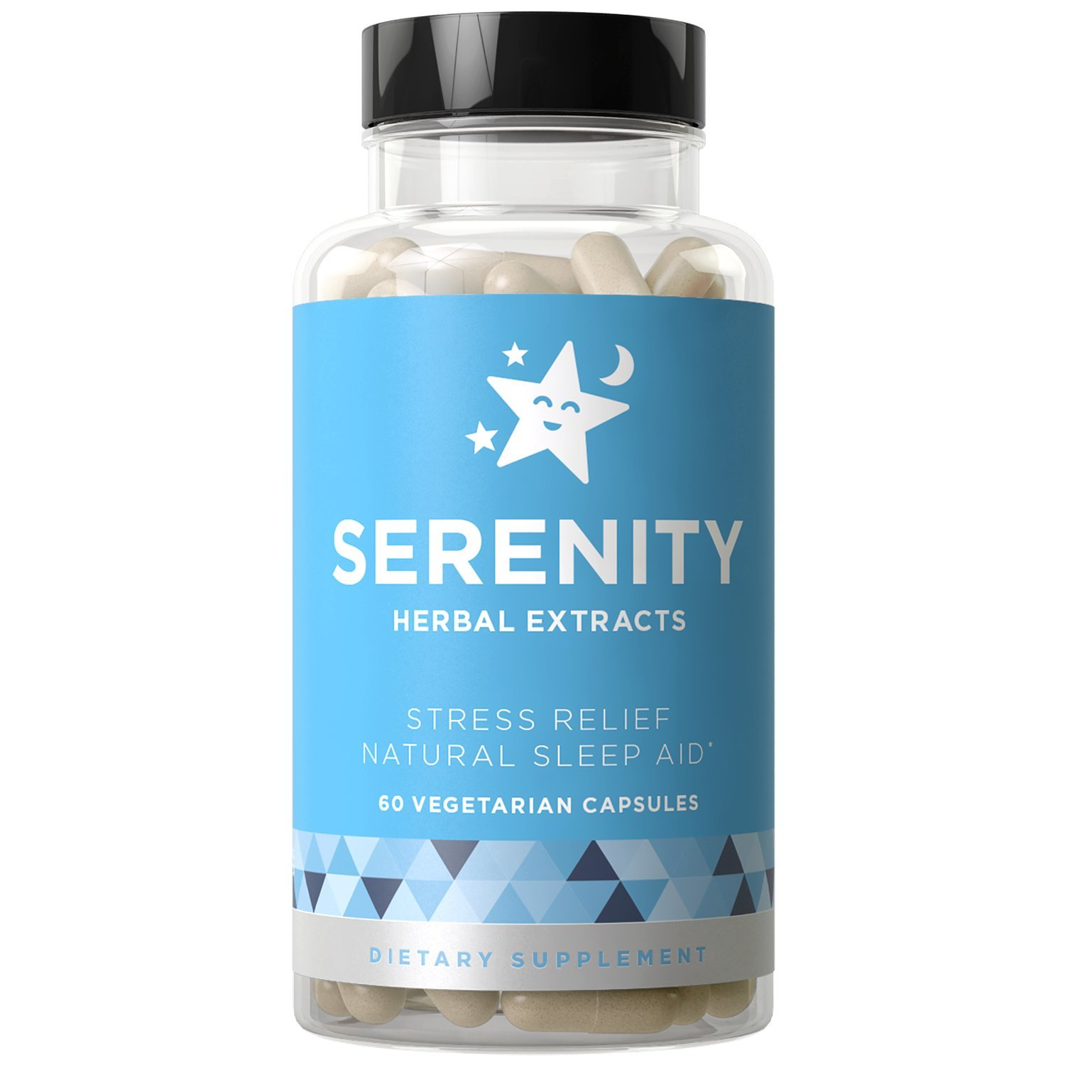 SERENITY Natural Sleep Aid, Stress & Anxiety Relief - Relaxes Mind & Body, Fall Asleep Fast Without Waking Up Groggy - Non-Habit Forming - Magnesium, Valerian, Chamomile - 60 Vegetarian Soft Capsules