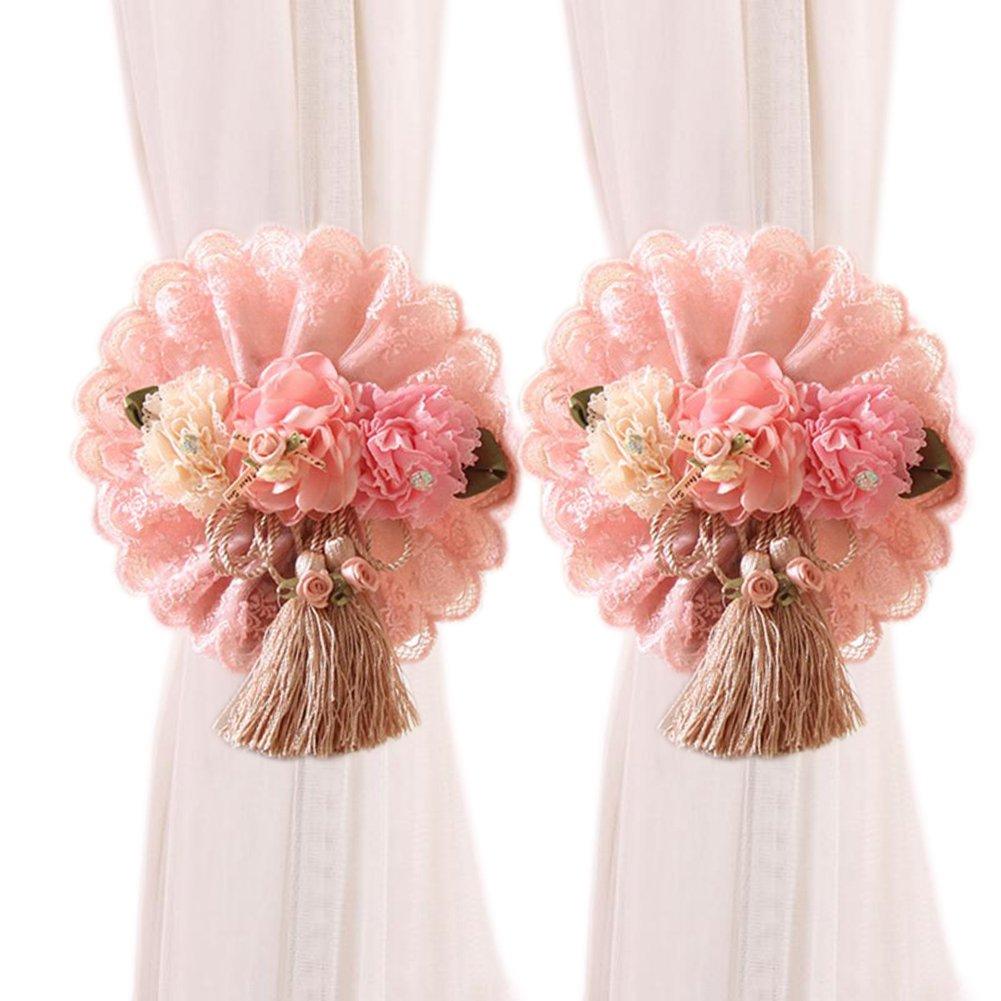 YING CHIC YYC 1Pair Lace Flower Curtain Tieback Buckle Ribbon Drape Holder Nursery Bedroom Decor (Pink)
