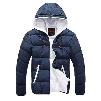 HX fashion Invierno De Los Hombres con Capucha Gruesa Acolchado Chaqueta Cremallera Abrigo Fino Prendas De Vestir Exteriores para Hombre Chaquetas Abrigos ...