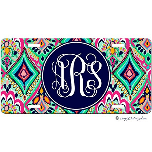 Simply Customized Personalized License Plate Monogram Colorful Floral Jewels License Plate Car Auto Tag Aluminum PLP