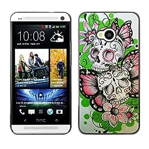 MobileHut / HTC One M7 / Butterfly Flowers Spring Skull Biker / Delgado Negro Plástico caso cubierta Shell Armor Funda Case Cover