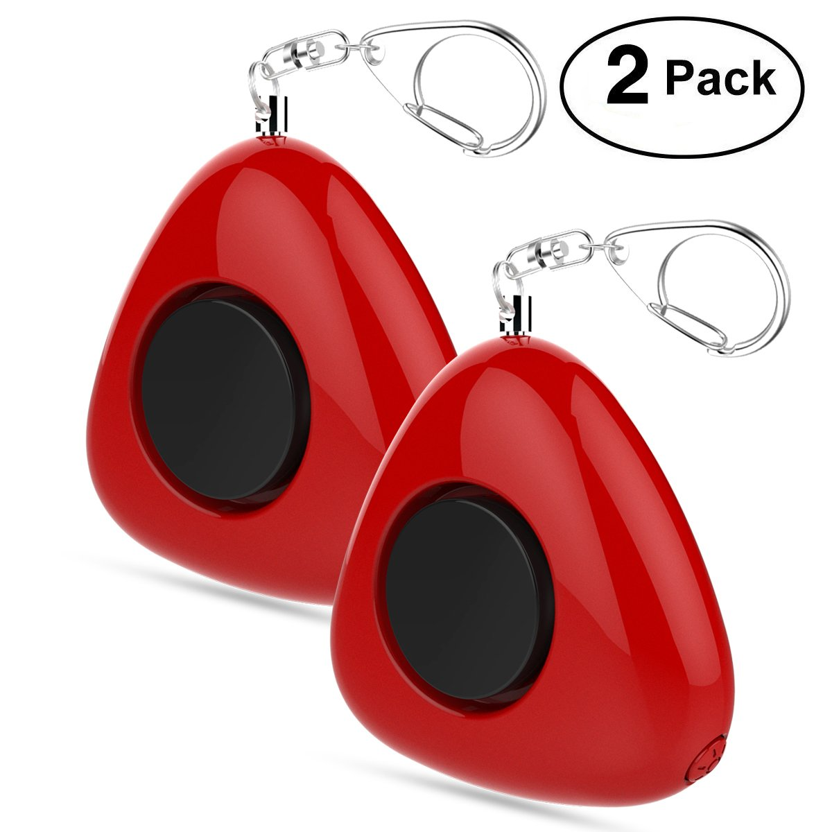 UTOPER Personal Alarm Keychain 2 Pack Self-Defense Emergency Sound Weapon Safe Security Siren Alarm with LED Flashlight for Women Children -Red