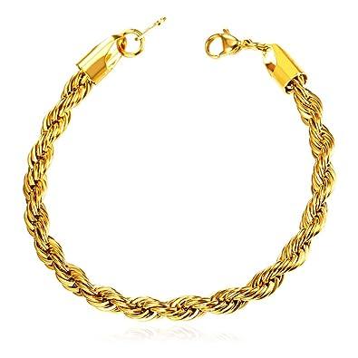 37eafa05528dd U7 Stainless Steel/Black Gun/18K Gold Plated Twisted Rope Chain Bracelet -  8.3 Inch,3 Width:3mm,6mm,9mm