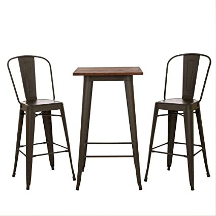 Charmant Glitzhome Rustic Wood Bar Table Metal Height Stool With Back Set (table And  2 Pieces