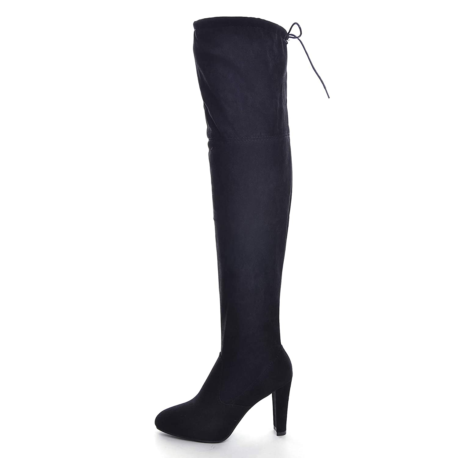 7b4a410271e25 VFDB Women Over The Knee Boots Thigh High Stretch Block Chunky Heel Faux  Suede Booties