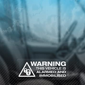 X WARNING VEHICLE ALARMED AND IMMOBILISED Security CarVanTaxi - Window stickers amazon uk