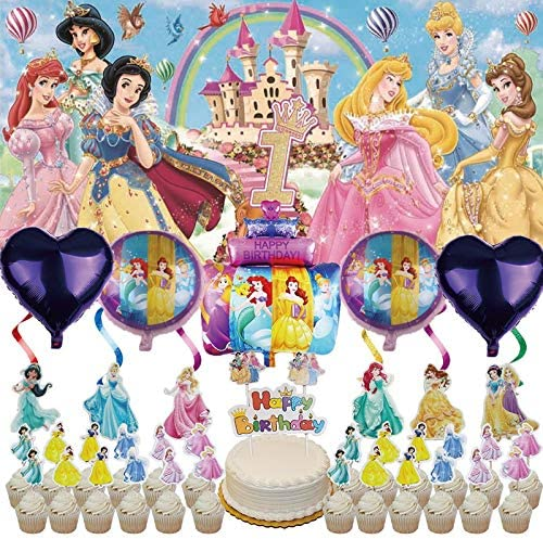 Decor Birthday First 1 Set Backdrop For Girl Banner Balloons Decorations 1st Disney Princess Party Supplies