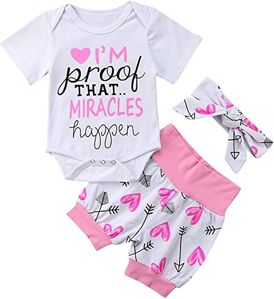 Dsood Newborn Baby Girls Boys Letter Arrow Romper Jumpsuit Shorts Set Outfits
