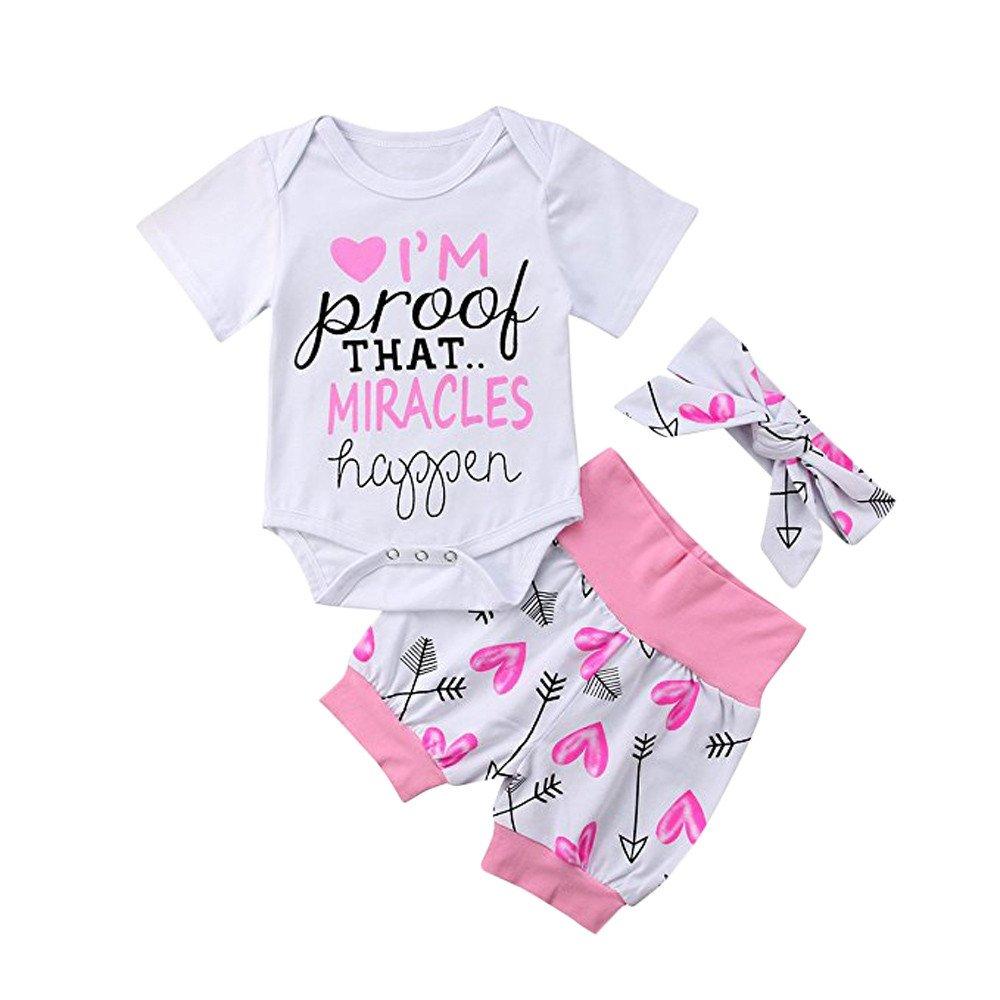 Oldeagle 3Pcs Newborn Baby Girls Letter Arrow Print Romper Jumpsuit Shorts Headband Baby Clothing Set (12M, White)