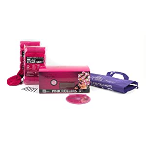 Sleep-In Rollers Gift Pack Includes 20 Rollers/ Drawstring Bag and Velour Pouch with Clips (Pink)