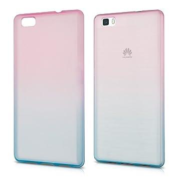 kwmobile Funda para Huawei P8 Lite (2015) - Carcasa para móvil de TPU con diseño Bicolor - Rosa Fucsia/Azul Mate