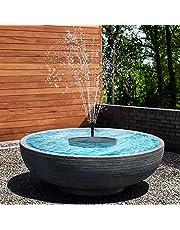 Riastvy Fonte de água solar de LED para banho de pássaros com 4 bocais, fonte alimentada por energia solar, para jardim, pássaro, lago, piscina, tanque de peixes, ao ar livre, preto