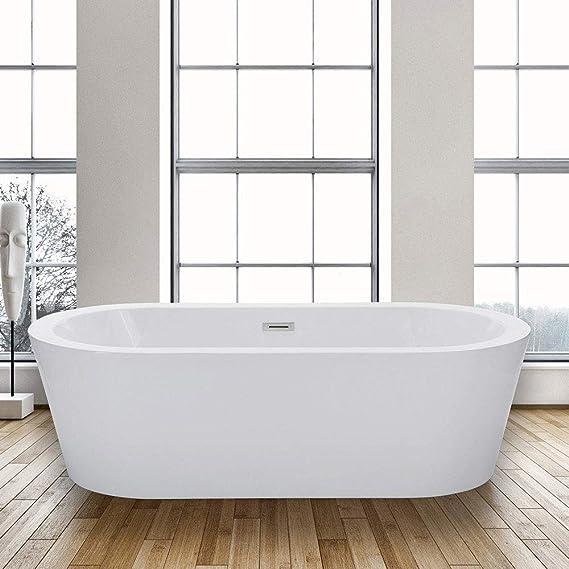 Woodbridge 67 X 32 Acrylic Freestanding Bathtub Contemporary Soaking Tub With Brushed Nickel Overflow And Drain Bta1504 67 B 0002 Amazon Com
