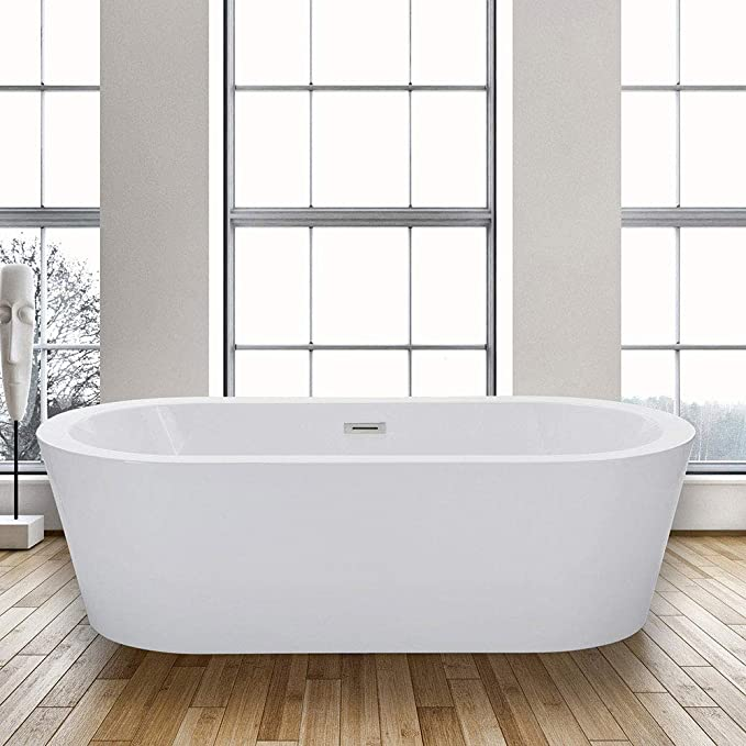 Woodbridge 67 X 32 Acrylic Freestanding Bathtub Contemporary Soaking Tub With Brushed Nickel Overflow And Drain Bta1504 67 B 0002 Amazon Com