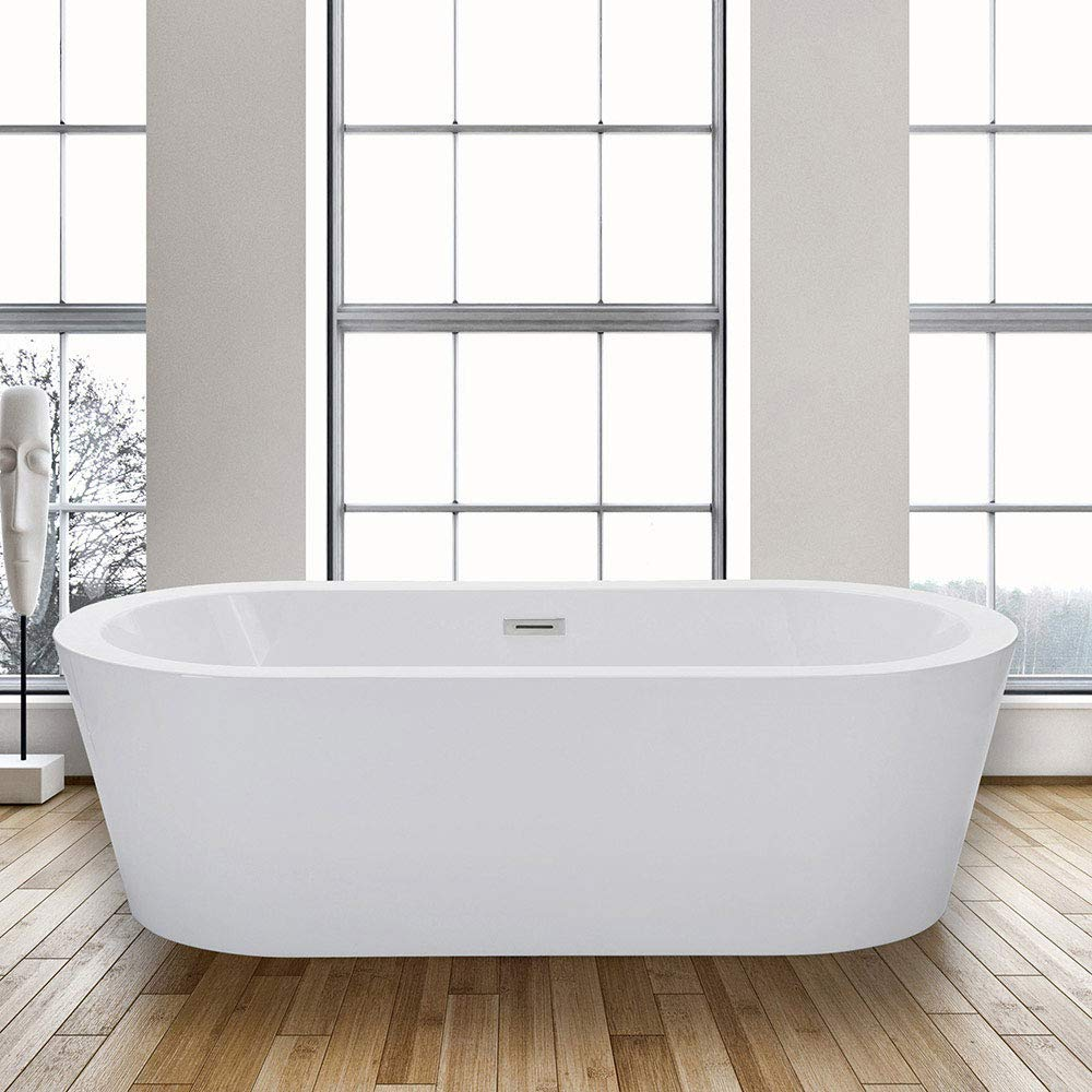 WOODBRIDGE BTA-1504 Acrylic Freestanding Bathtub Contemporary Soaking Tub with Brushed Nickel Overflow and Drain, BTA1504, 67 B-0002