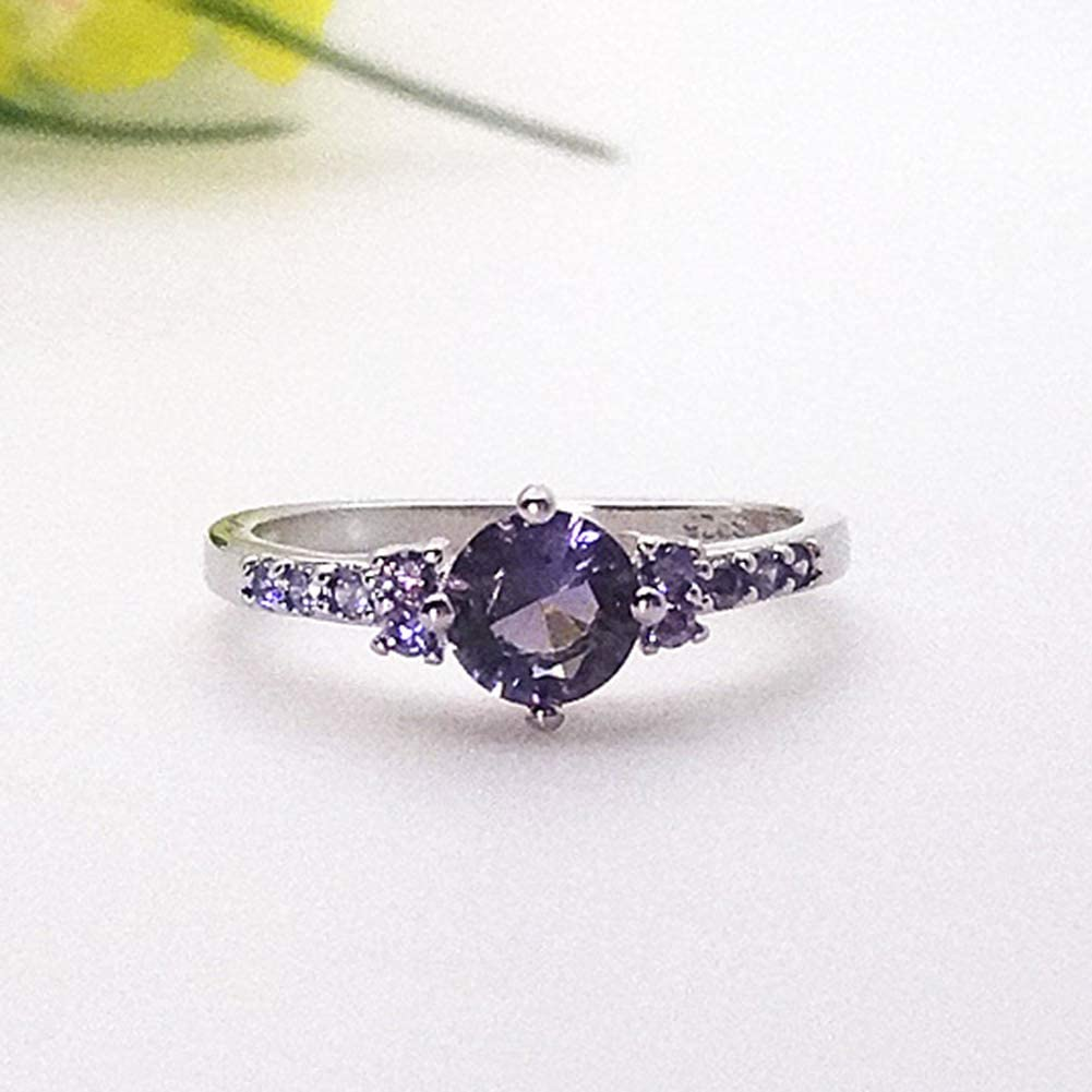 Fashion Ring Luxury Women Faux Amethyst Inlaid Finger Ring Wedding Engagement Jewelry Gift Purple US 10 Bands Rings