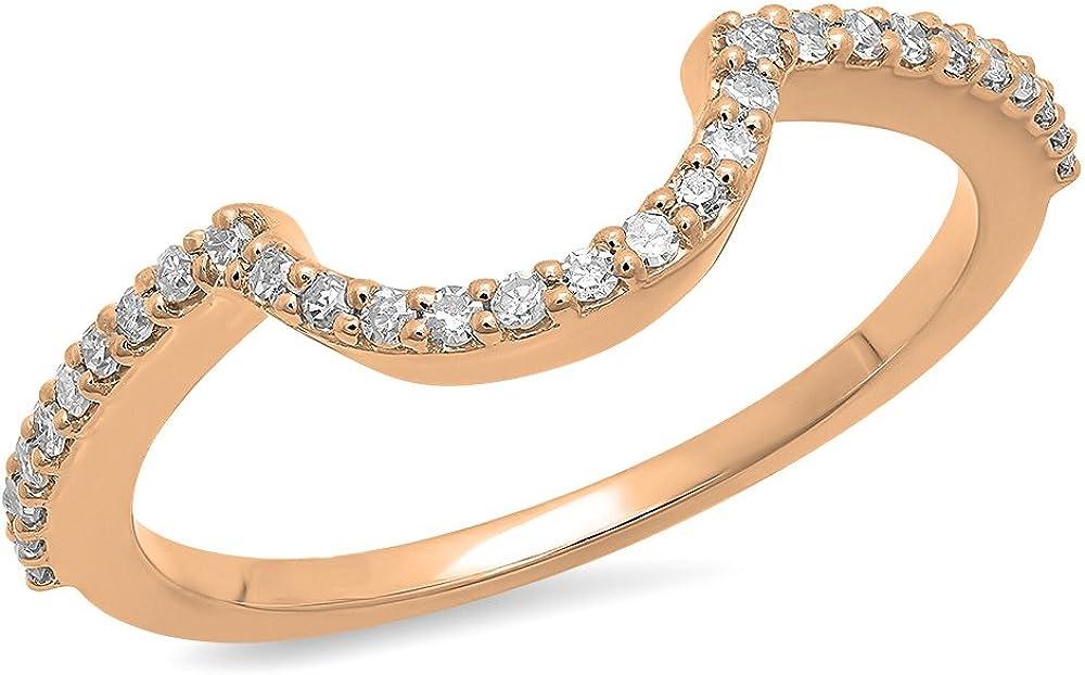 Dazzlingrock Collection 0.15 Carat (ctw) Round Diamond Ladies Anniversary Wedding Stackable Band Contour Guard Ring, 14K Gold