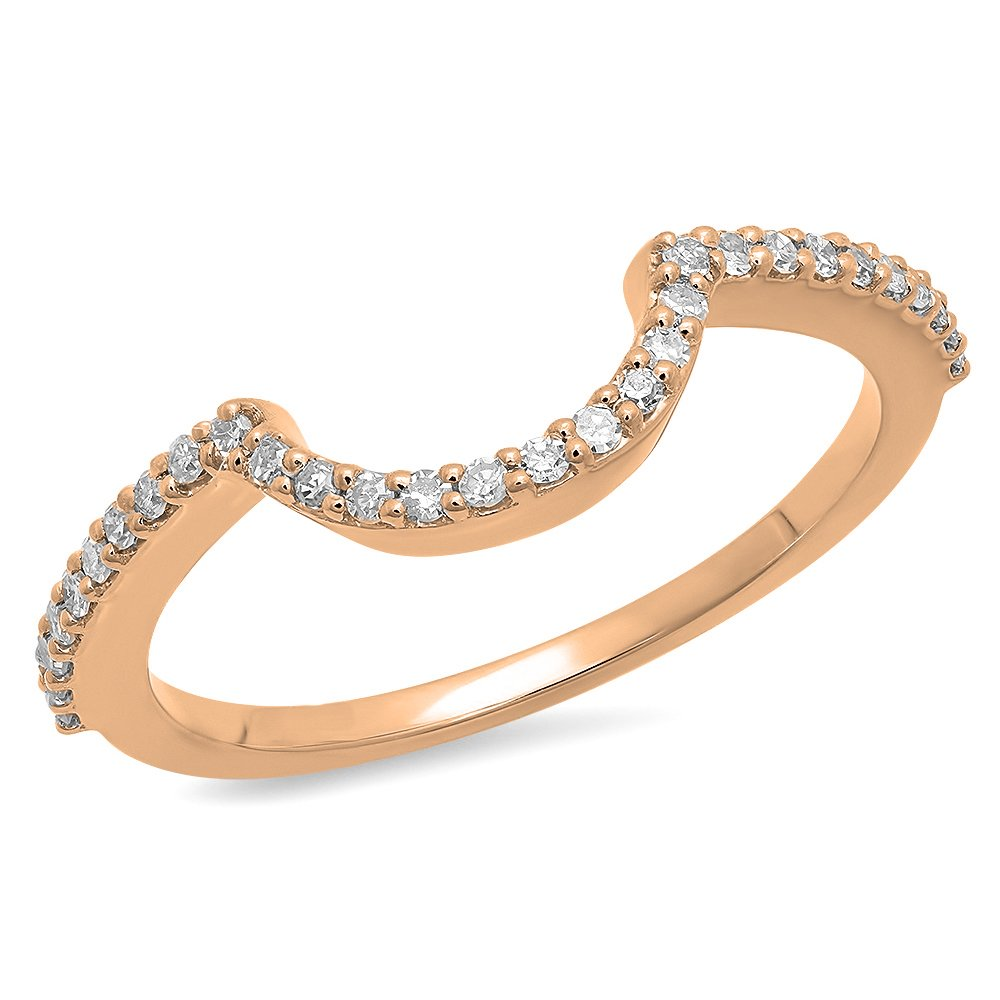 Dazzlingrock Collection 0.15 Carat (ctw) 10K Round Cut Diamond Ladies Wedding Band Contour Guard Ring, Rose Gold, Size 7