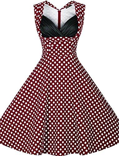 U-shot Vestido para mujer, diseño vintage con lunares, de los 50, Rockabilly, para picnic, cóctel, fiesta o baile granate