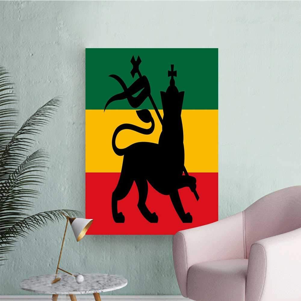 Amazon com rasta wall stickers rastafarian flag with judah lion on reggae music inspired decor image mens room wall black red green and yellow w20 x h28