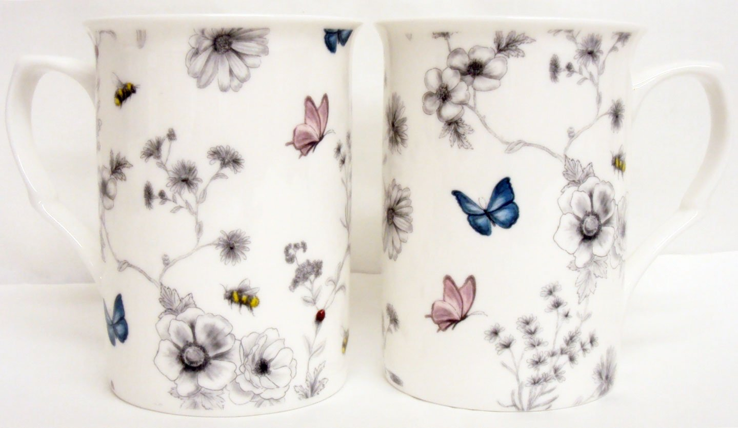 Secret Garden Mugs Set of 4 Four Fine Bone China Flowers Butterflies and Bees Mugs Hand Decorated in the UK Rainbow Decors Ltd