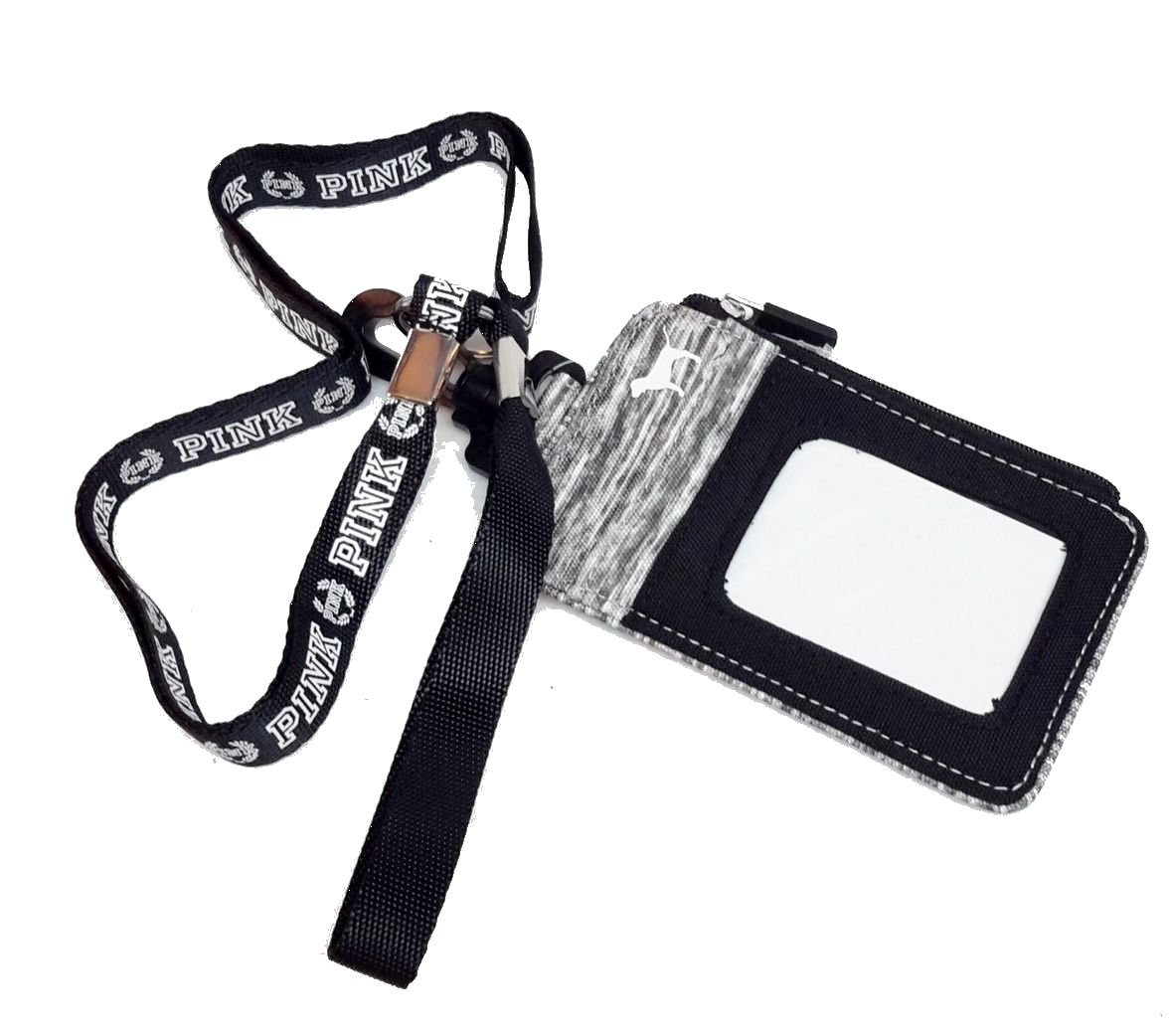 Victorias Secret Lanyard ID Holder Zipped Wallet case Grey Marl by Victoria's Secret