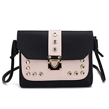 a0c73116f0b2 Women Rhinestone Evening Shoulder Bag Messenger Satchel - Casual Hit Color  Leather Tote Crossbody Bag (Black)  Beauty
