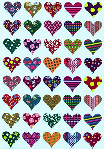 Royal Green Valentines Stickers Heart Shape - Assorted Patterns Hearts Sticker in Red, Pink, Blue, Gold, Green , Purple, Stars, Flowers, Stripes and Dots - Permanent Adhesive - 200 Pack