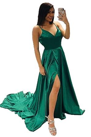 Dresshine Damen V-Ausschnitt Satin Lang Prom Dress Slit: Amazon.de ...