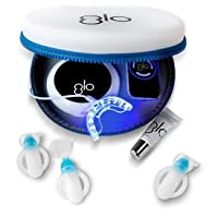 GLO Brilliant Deluxe Teeth Whitening Device Kit with Patented Blue LED Light & Heat Accelerator for Fast, Pain-Free, Long Lasting Results. Clinically Proven. Includes 10 GLO Gel Vials+ Lip Care