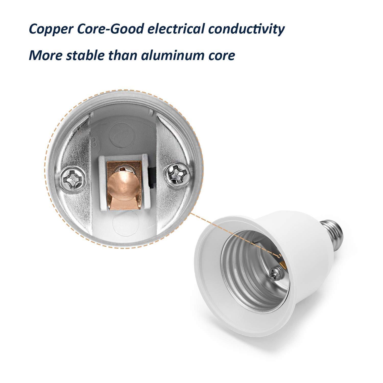 JACKYLED E12 to E26 E27 Adapter 5-Pack Chandelier Light Socket E12 to Medium Socket E26 E27 Converter Bulb Base Adapter Converter